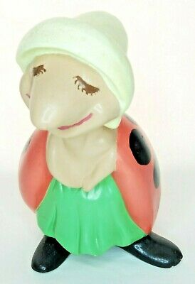 """Vintage Ceramic Ladybug Painted Mold 1970s 12"""" Tall Outdoor Patio Spring Garden"""