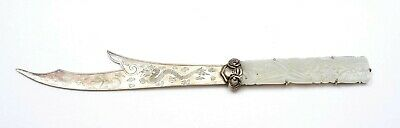 1930's Chinese Sterling Silver Dragon Knife Letter Opener White Jade Plaque Mk