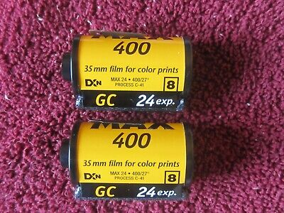 Kodak Max 400 Film~24 Exposures~No Expiration Date?~2 Rolls In Canisters