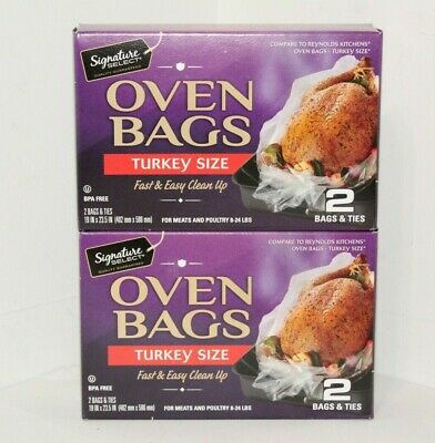 4 Kitchen Oven Bags & Ties Turkey Size Meat & Poultry 8 to 24 lbs BPA free Roast