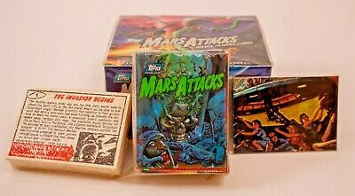Nos 1994 Topps Mars Attacks Deluxe Trading Card Pack Box & Complete Set