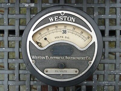 Vintage WESTON ELECTRICAL INSTRUMENT CO. VOLTAGE METER GAUGE VOLTS DC Untested