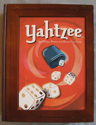 Yahtzee wooden bookshelf edition; NEVER PLAYED, parts sealed