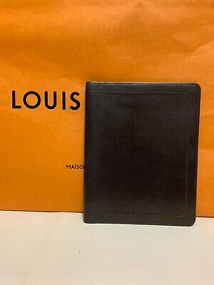 LOUIS VUITTON Agenda Notebook Cover Organizer Leather Dark Brown