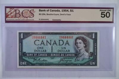 1954 Bank of Canada $1 Devils Face Note RA 9444441 Graded Almost UNC-50