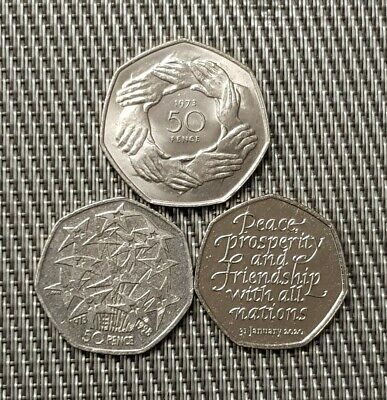 Set of 3 Eu/BREXIT UK 50p Coins,1973 ring of hands, 1998 Stars & 2020 Brexit 50p