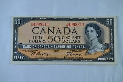1954 Bank of Canada $50 Fifty Dollar Note Beattie Coyne AH 4998311 Ungraded