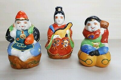 Vintage 3 Wise Chinese Porcelain Figurines ~ with Gold & Moriage Accents *RARE*