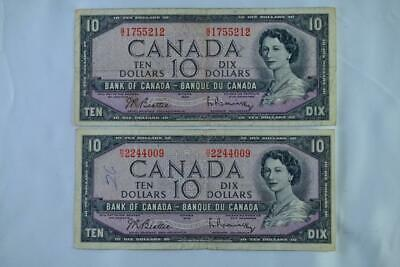 Lot of Two 1954 Bank of Canada $10 Note Modified Portrait Ungraded See Descrip