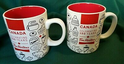 Tim Hortons Canada 150 years Ceramic Mug Cup x 2  Limited Edition 2017 Red White