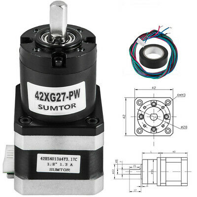 42 mm Planetary Gear Motor Nema 17 Stepper Motor Phase Resistance CNC Ratio1:27