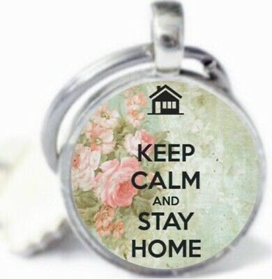 STAY HOME Keyring Social Distance Reminder Support Gift Silver Charm Keychain