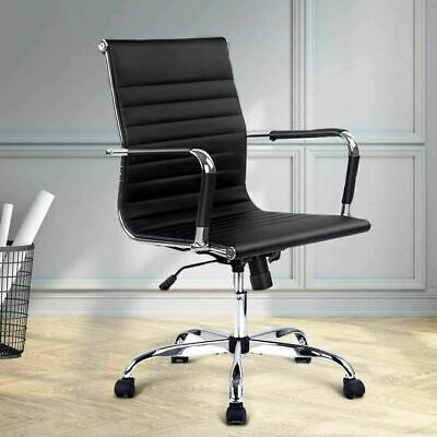 Eames Replica Office Chair Executive Mid Back Seating PU Leather Black 8147 AU