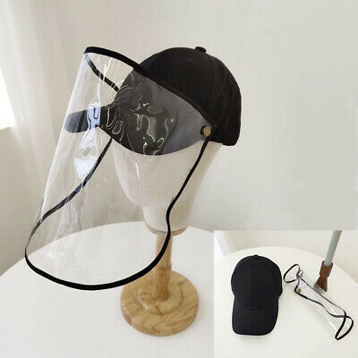 Unisex Baseball Cap Full Face Anti Wind Dust Removable Transparent Shield Hat