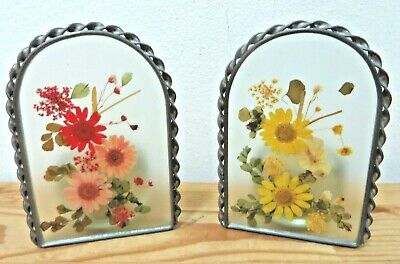 Lovely Vintage Pair of Pressed Real Flowers In Glass & Metal Trim Candle Holders