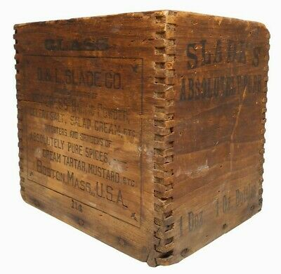 D & L Slade Co Boston Ma Vint Sm Ink Stamped Wooden Box, W/Finger Joined Corners
