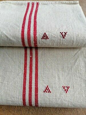 Vintage French Rustic Linen Tea Towels 2 Unused 1950s Fab Quality 80cms x 60cms