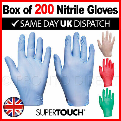 Disposable Powder Free Latex Free Nitrile Gloves Blue Clear Red - Boxes of 200