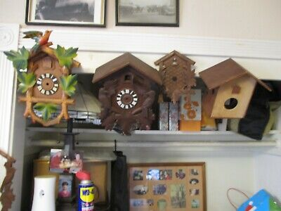 Lot Of 3 Vintage Cuckoo Clock Cases And 2  Face Frames As Pictured.