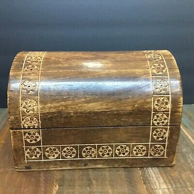Vintage Hand carved wood Hinged rounded Chest box Small Trunk Folk Art