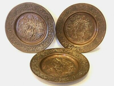 3 Vintage Copper Plates From The Middle East Eastern Israel Egypt Hand Made
