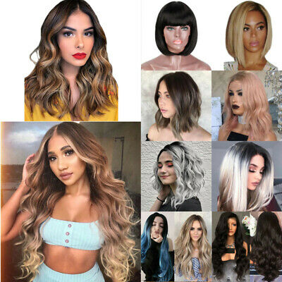 Ladies Ombre Blonde Long Curly Wigs Women Natural Wavy Hair Party Cosplay Wig