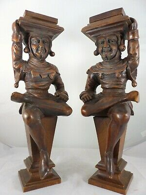 Antique PAIR of Carved Wood Figures/ Candle Stands or Cabinet Supports Late 19TH