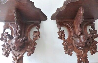 Antique Hand Carved Black Forest Hunting Dog Head PAIR Wall Bracket Shelf 1880