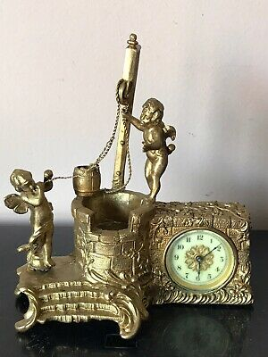 Antique 1891 Waterbury Gold Cherubs At The Well Novelty Mantle Clock