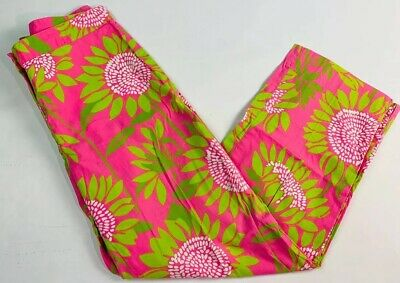 Lilly Pulitzer 4 Women's Pants Ankle Cropped Capris Pink Green Floral Cotton