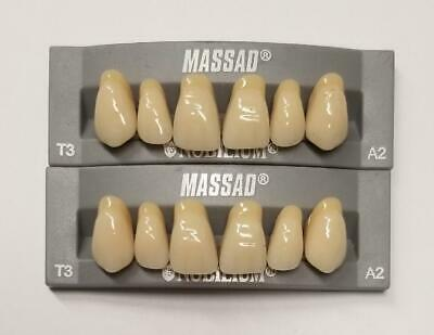 2pcs A2 Upper Massad Premium Anterior T3 Dental Acrylic Teeth False Denture