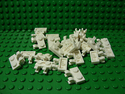 """** 25 CT LOT **  Lego NEW white 1 x 2 modified plate W// /""""tooth/"""" pieces Lot of 25"""