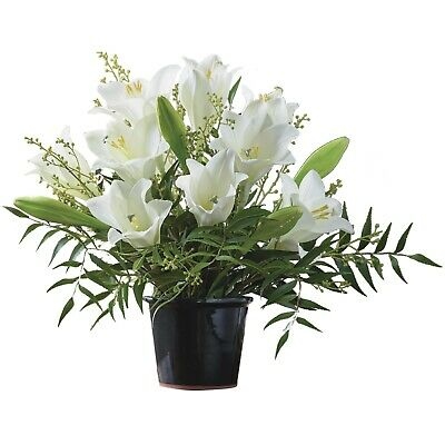 Artificial White Lily Lilies Flower Arrangement Potted Centrepiece Plant