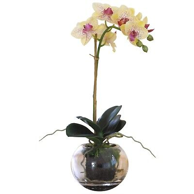 Artificial Yellow Pink Spring Orchid Flower Arrangement Vase Centrepiece Plant