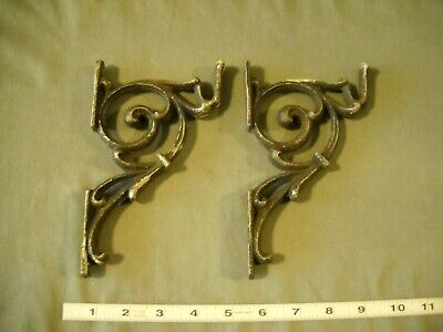 Antique Vintage Drapery Curtain Rod Brackets Holders Victorian Gothic Set Of 2
