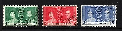 1937 Hong Kong Coronation set (sg 137/9) fine used