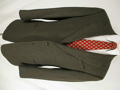 Armani Collezioni Mens Brown Houndstooth 2 Btn Tweed Sport Coat 42L Italy Made