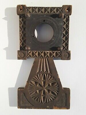 Antique Folk Art Carved Wood Door Knob Plate Cover German Springerle Style.