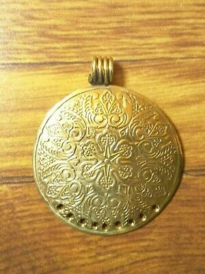 Tibetan Pendant Handmade Tribal Opalite Vintage Solid Brass antique Look Ethnic