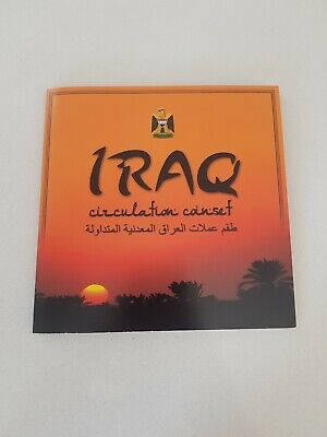 Iraq Circulation 8 Coin Set in Folder 5 Fils to 1 Dinar