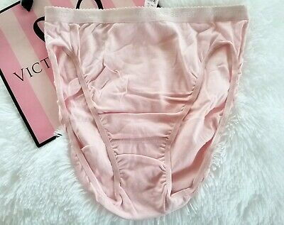 Vtg Victoria Secret hi leg brief panties signature waistband solid baby pink XL