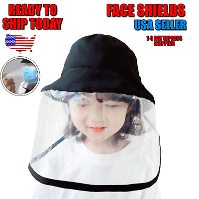 Kids Face Sheild Hat ANTI Splash Spray Cover SAFETY FACE SHIELD With CLEAR