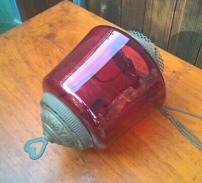 Antique Victorian Cranberry Glass Hanging Oil Lamp