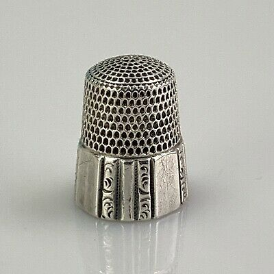Antique Simons Bros Sterling Thimble w Panels Size 10 - Very Nice