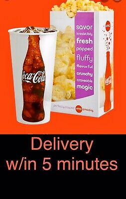AMC Theatres 1 LARGE Popcorn & 1 LARGE Drink exp 12/31/20   5 MINUTE eDELIVERY!