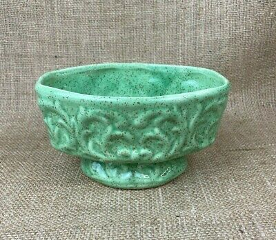 Vintage Ceramic Planter with Relief Work Speckled Green