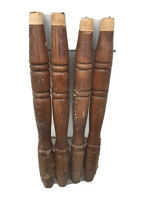 "4 VINTAGE TURNED Maple WOOD LEGS  Spindle ARCHITECTURAL SALVAGE 17.25"" Tall"