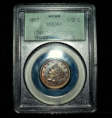 1857 Braided Hair Half Cent ✪ Pcgs Ms-63-Rb ✪ 1/2C Red-Brown Choice Bu ◢Trusted◣