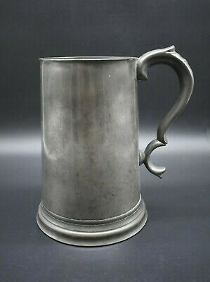 18th Century antique English pewter glass base tankard - made in Cambridge