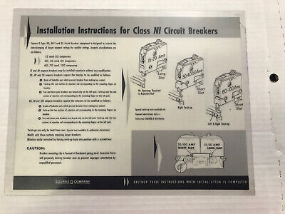 Installation Instructions For Class NI Circuit Breakers Laminated Sheet